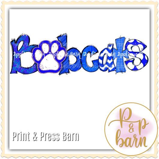 Bobcats Paw Word Art- Blue and White