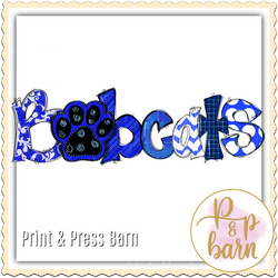 Bobcats Paw Word Art- Blue, Black and  White