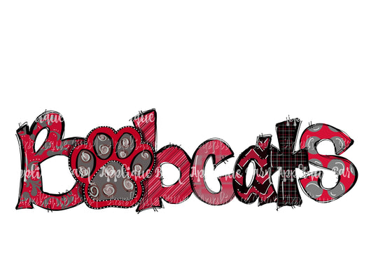 Bobcats Paw Word Art- Red Black