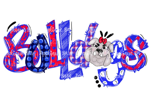 Bulldog Word Doodle- Red and Blue Girl