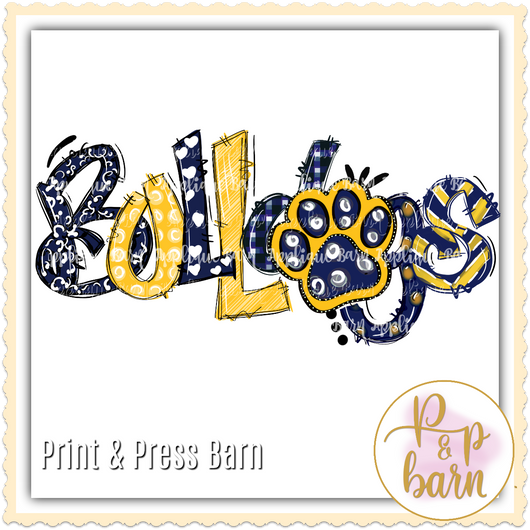 Bulldog Word Doodle- Navy and yellow
