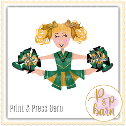 Cheerleader Blonde- Green and Gold