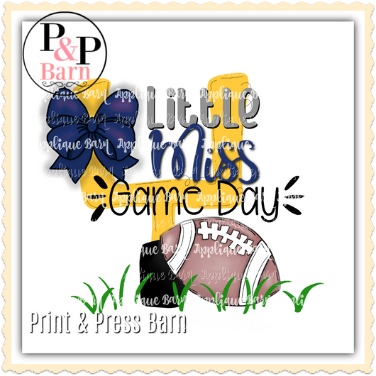 Little Miss Game Day- Navy