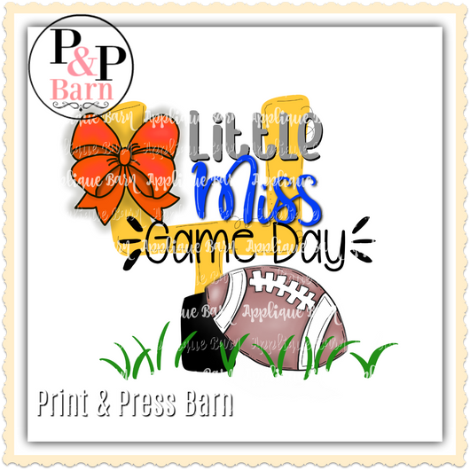 Little Miss Game Day- Orange and Blue