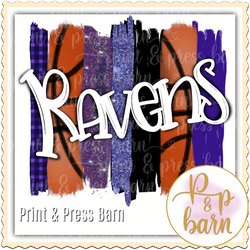Ravens Basketball Brushstroke- Purple