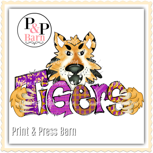 Tiger Word Art- Purple and gold