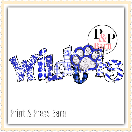 Wildcats Paw Word Art- Blue and White