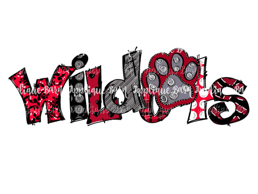 Wildcats Paw Word Art- Red Black