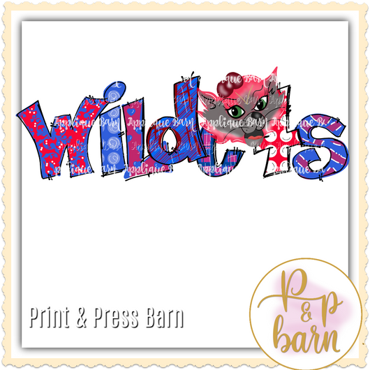 Wildcats Word Art- Red and Blue