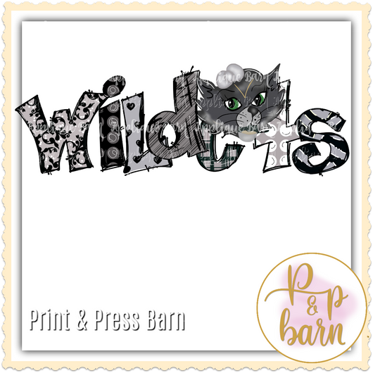 Wildcats Word Art- Black and grey