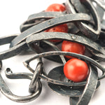 "Bracciale ""taliata"" corallo (silver bracelet with coral eyes) - Roberto Intorre"