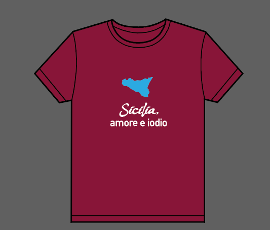 "T-shirt ""Sicilia, amore e iodio"" (""Sicily, love and iodine"") bordeaux - Putia"