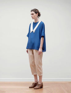 Detachable Silk Sailor Collar Top