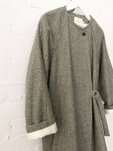 Shetland Wool Mix Wrap Coat