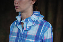 Detachable Double Ruffle Collar Check Shirt