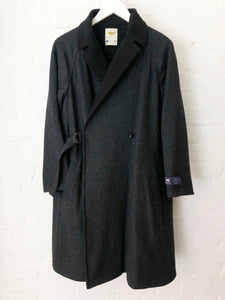 Cotton Moleskin Merino Wool Reversible Wrap Coat