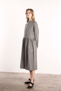 Fine Wool Hound Tooth Pattern Band Collar Dress