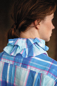 Tartan Check Ruffle Collar Dress