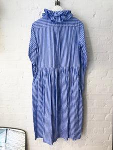 Cotton Stripe Double Ruffle Collar Dress