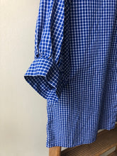 Balloon Sleeve Cotton Check Top