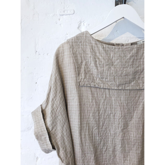 Vintage Irish Linen Backward Sailor Collar Top
