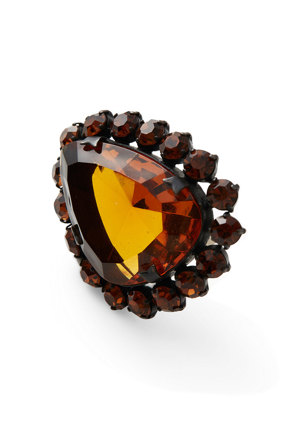 Vintage<br>1980's/90's amber faceted glass brooch