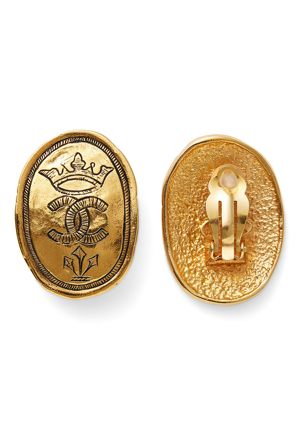 Chanel<br>1980's/90's gold crown double CC earrings