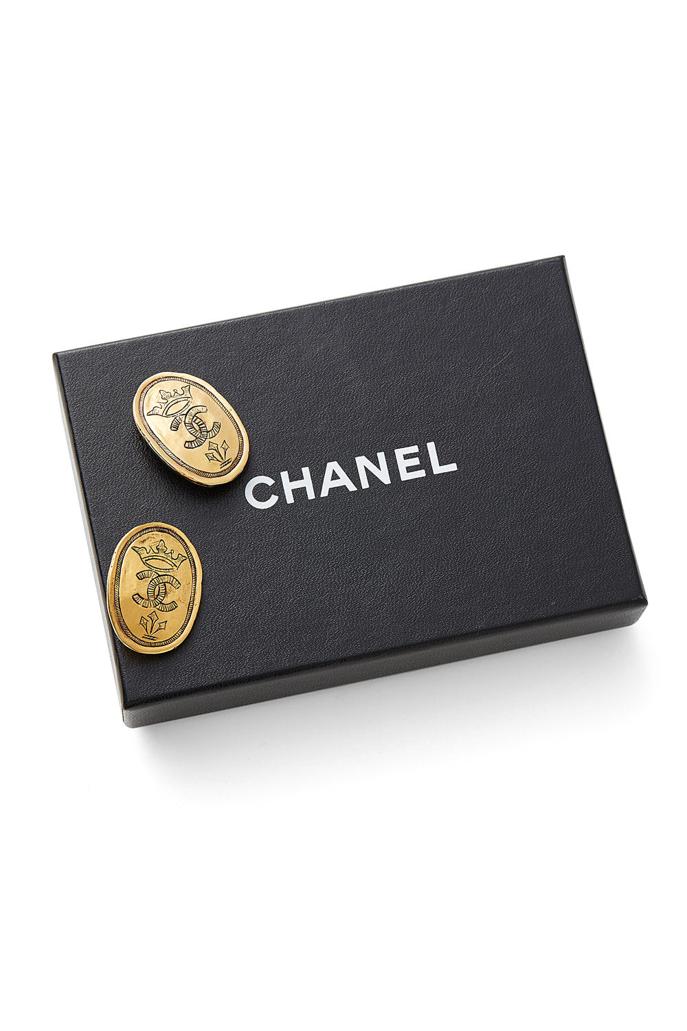 Chanel<br>1991 gold crown double CC earrings
