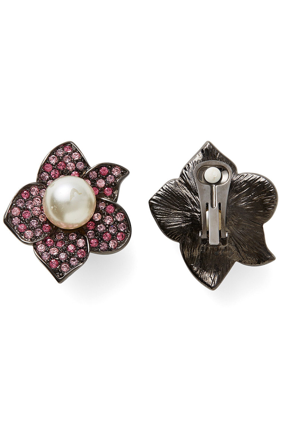 Kenneth Jay Lane<br>1980's/90's crystal & pearl flower earrings