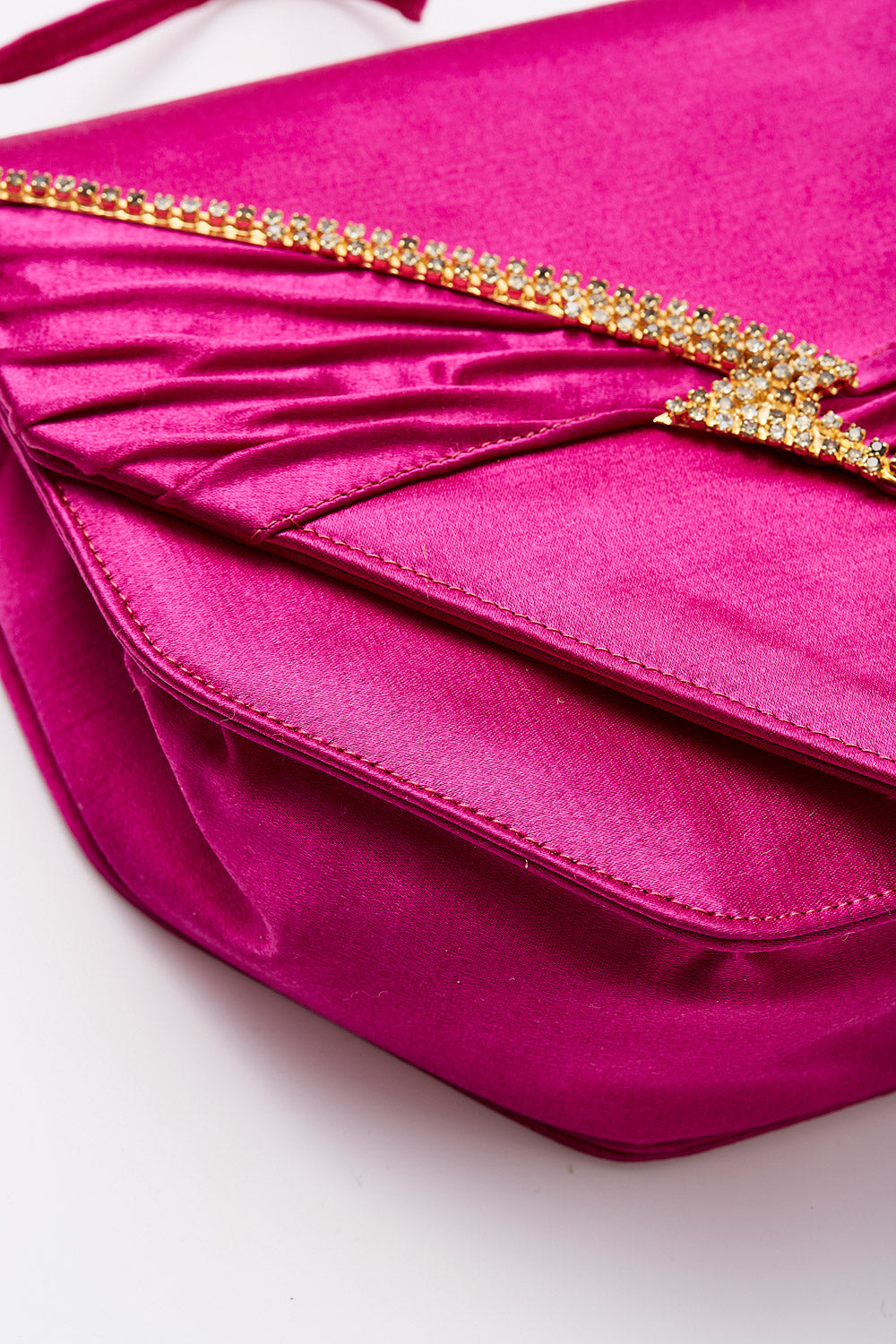 Cesare Martinoli<br>1980's pink satin evening bag with crystal lightning bolt