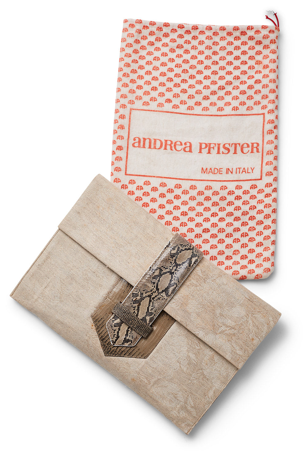 Andrea Pfister<br>1970's/80's brocade & snakeskin envelope clutch with crossbody strap