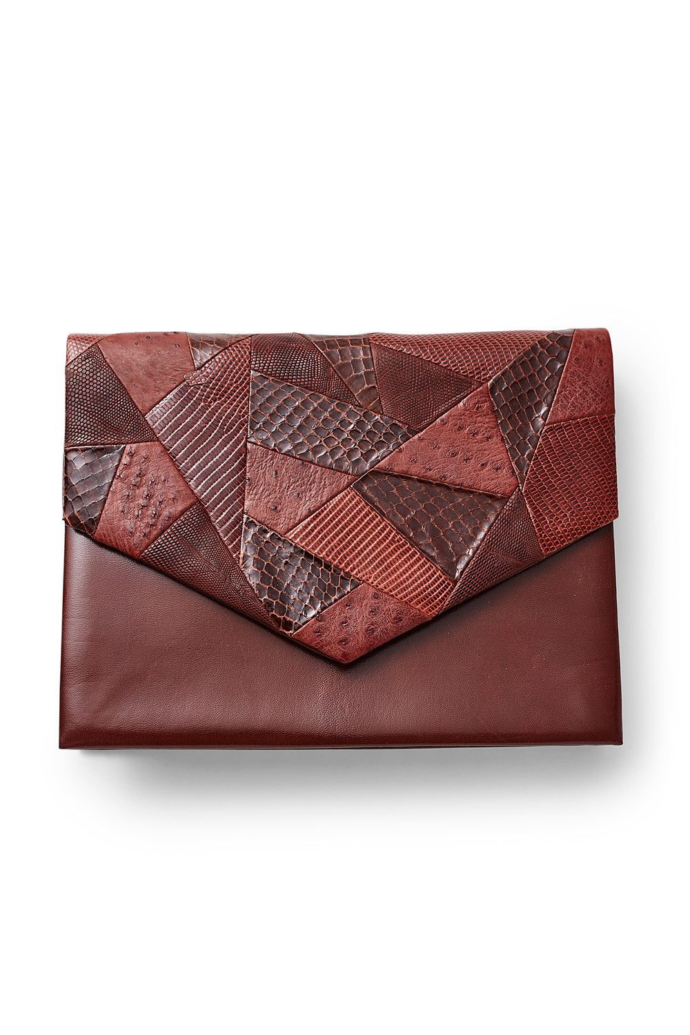 Andrea Pfister <br> 1970's/80's burgundy snakeskin & leather patchwork clutch purse