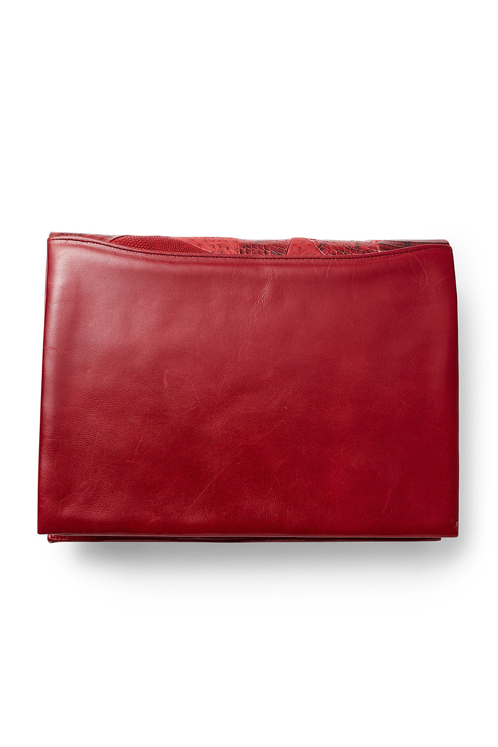Andrea Pfister<br>1970's/80's red snakeskin & leather patchwork clutch bag