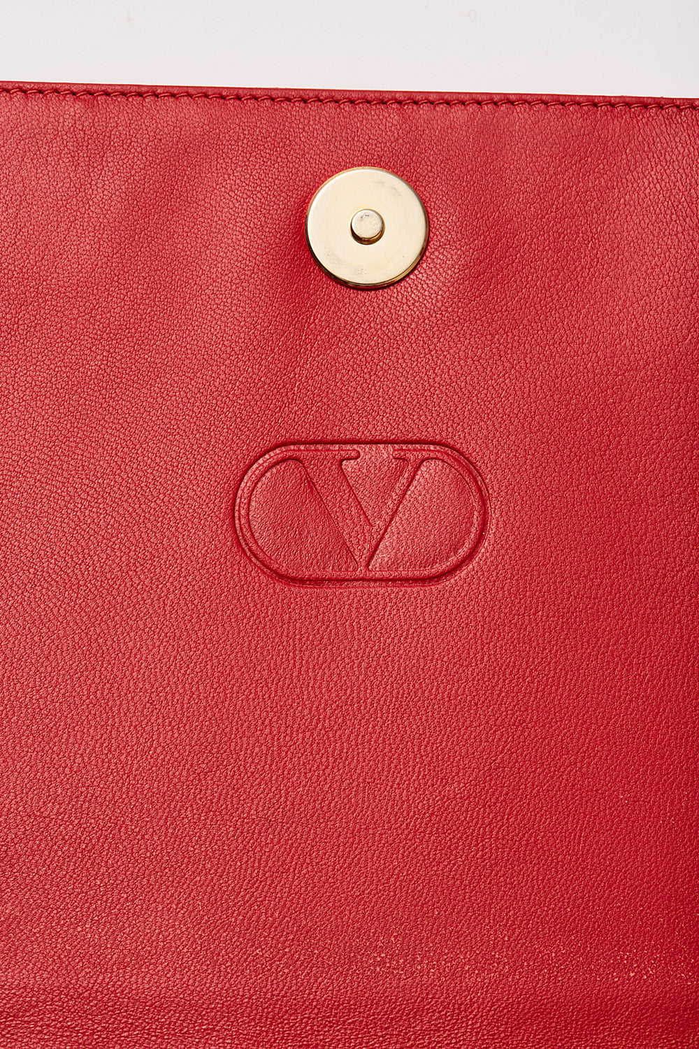 Valentino <br>1980's red lambskin leather & crystal chain clutch bag