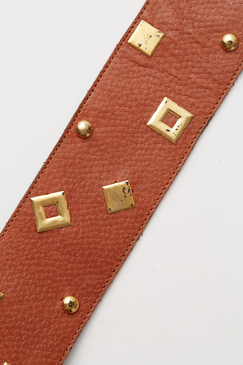 Yves Saint Laurent<br>1980's wide leather studded belt