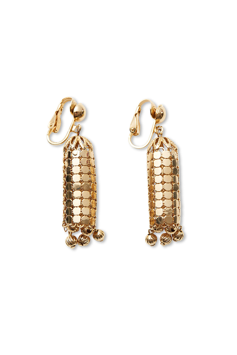 Oroton<br>1970's/80's gold mesh lantern earrings