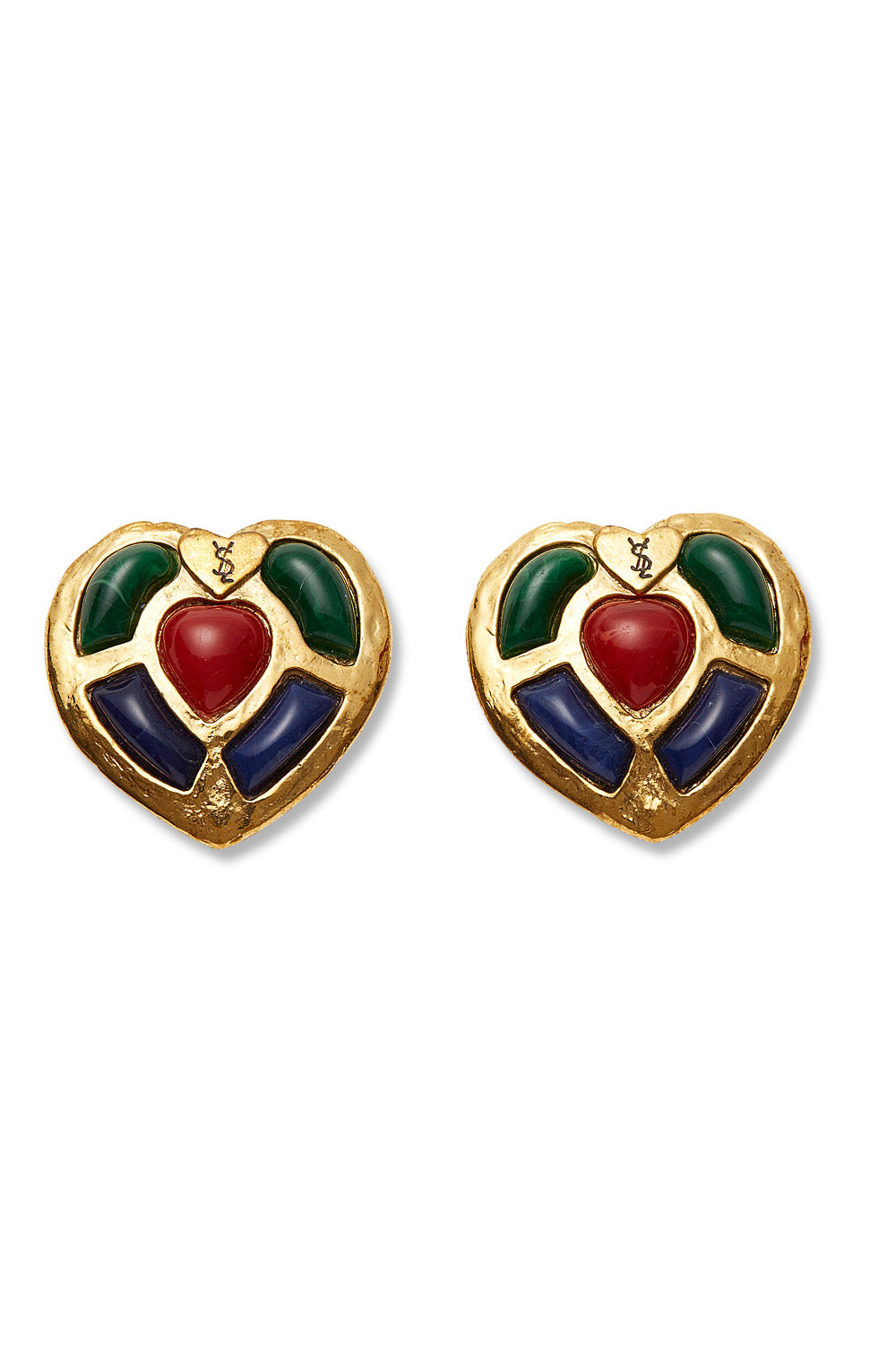 Yves Saint Laurent<br>1980's cabochon inset heart shaped logo earrings