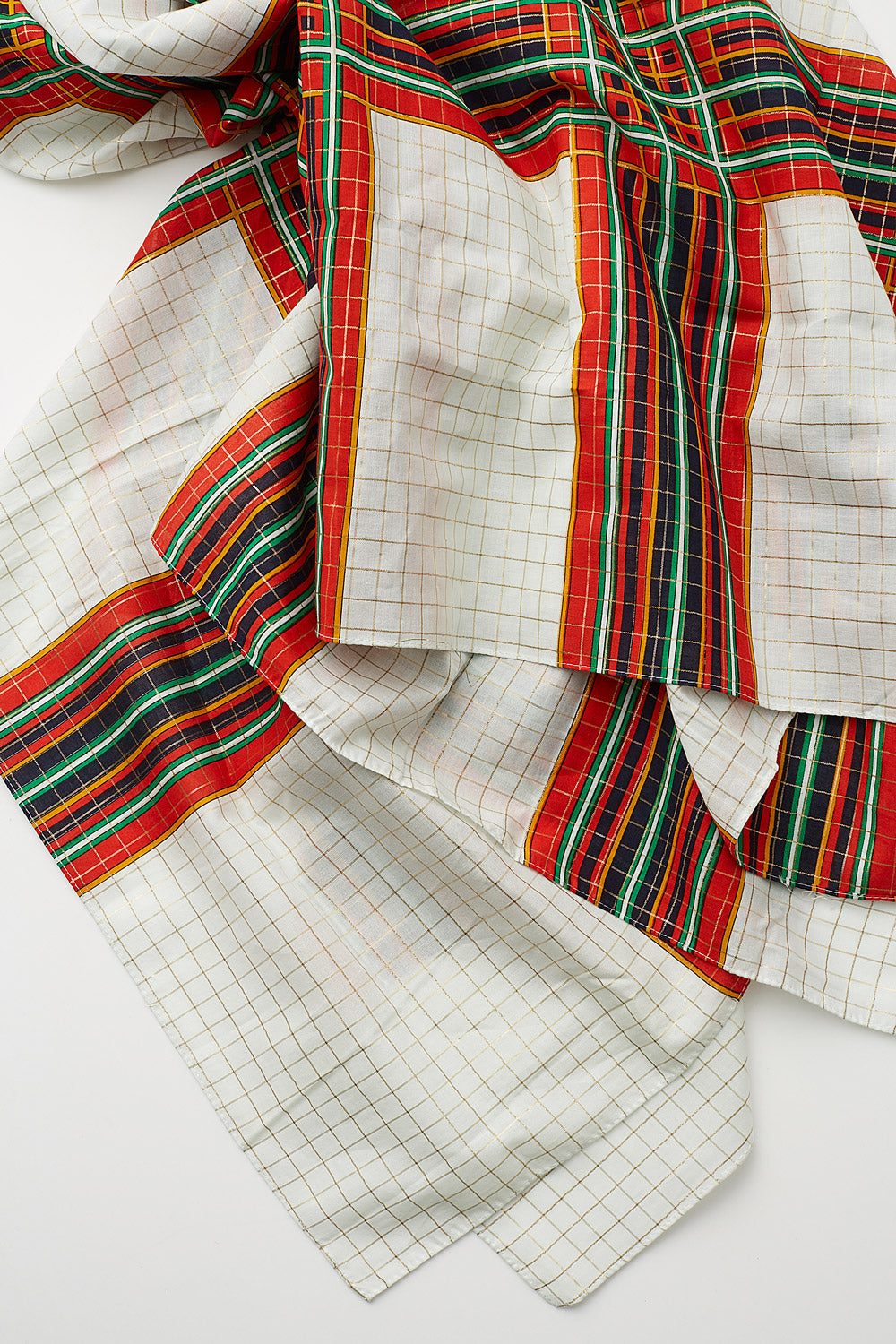 Yves Saint Laurent <br> 1970's fine cotton oversized check metallic scarf