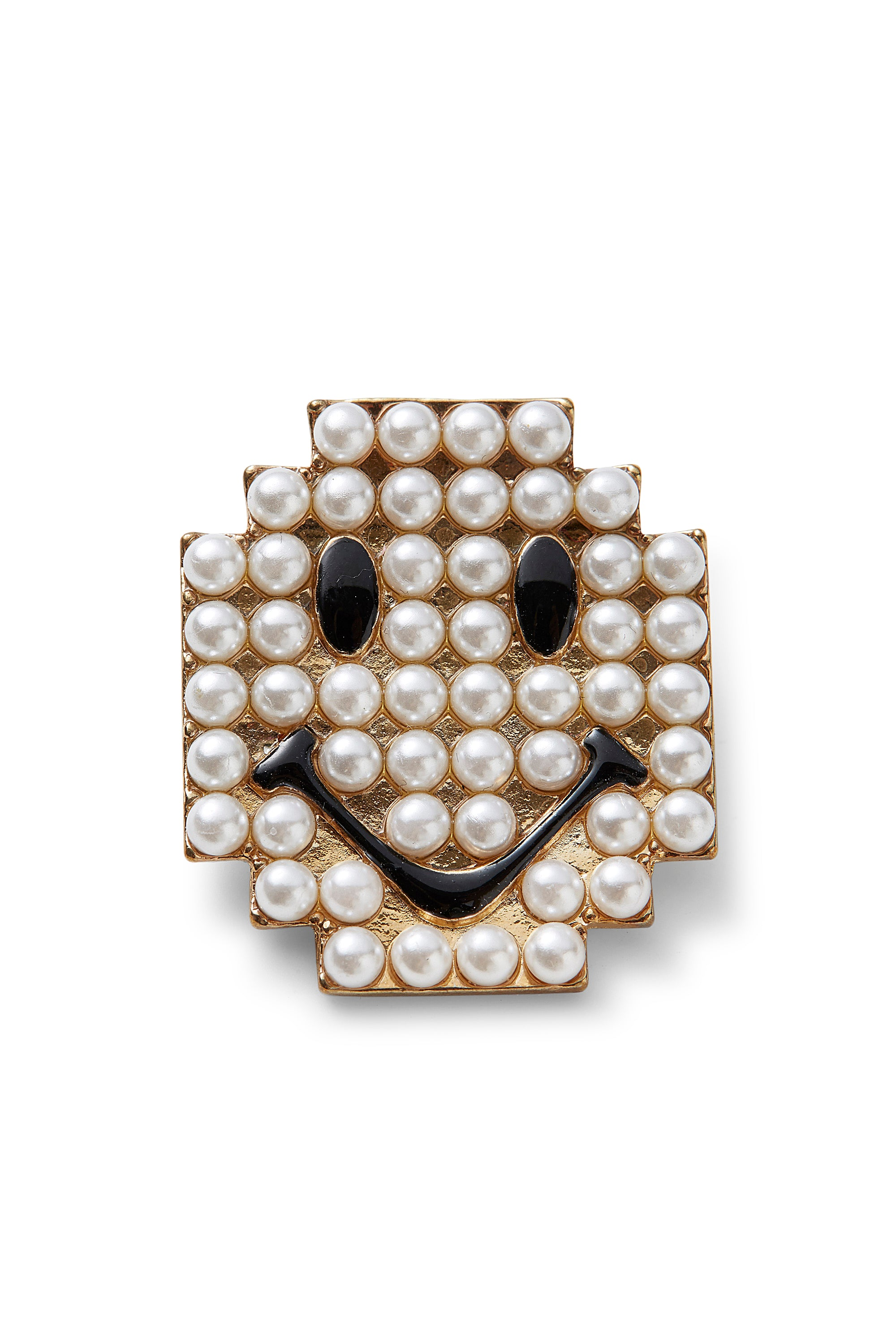 Vintage<br>90's faux pearl smiley face brooch