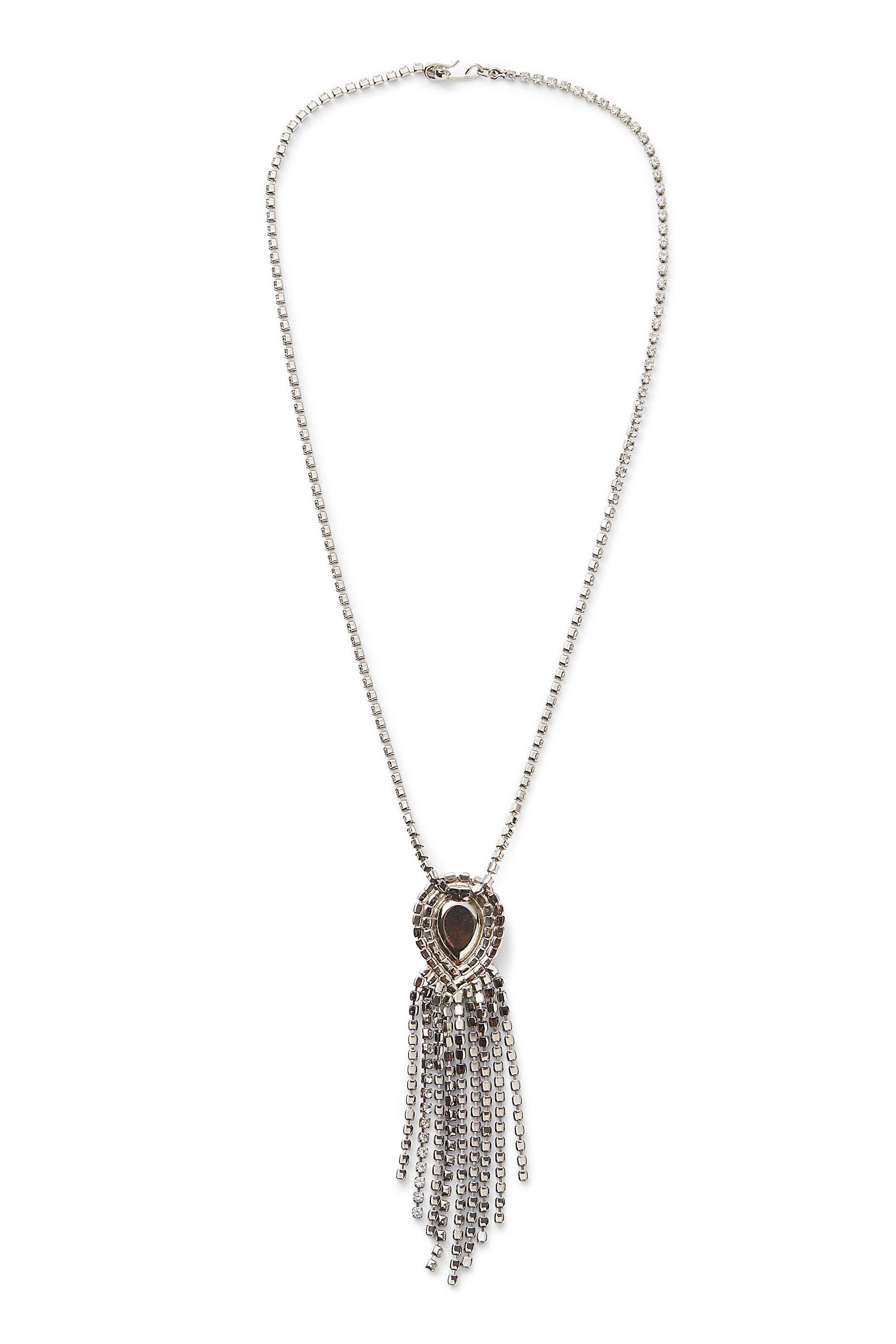 Vintage<br>80's crystal fringe pendant necklace
