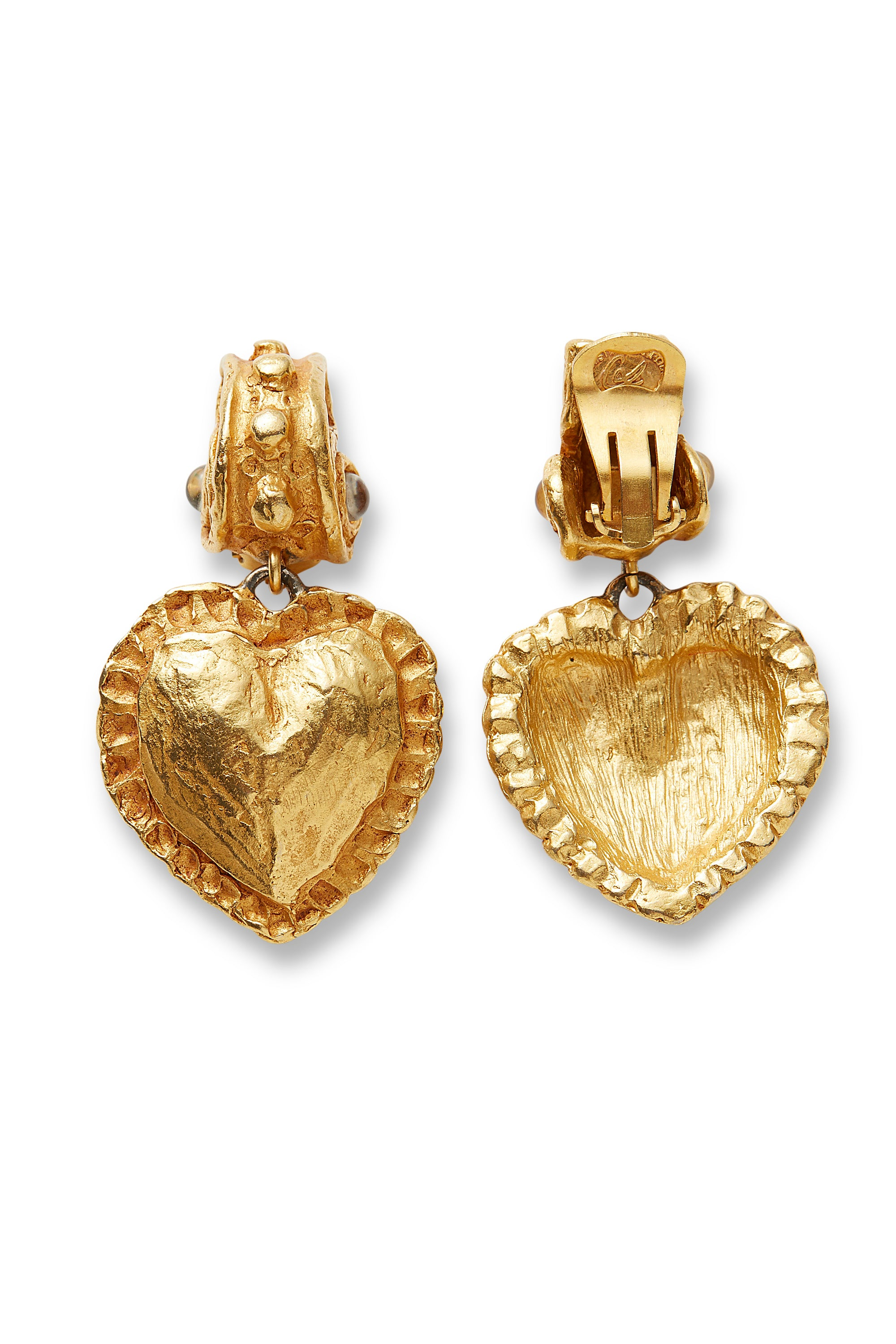 Christian Lacroix<br>90's gold baroque heart dangle earrings