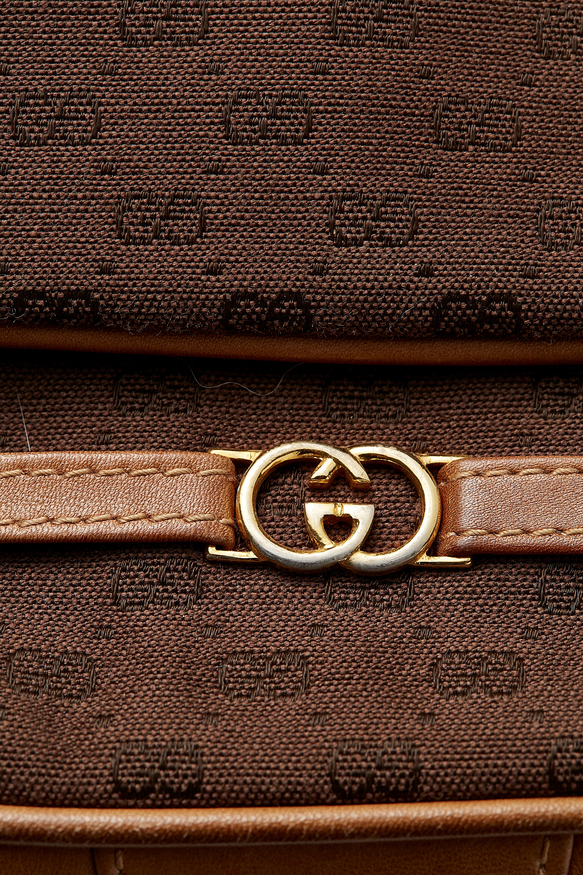 Gucci <br> 1970's tan leather & brown monogram logo shoulder bag