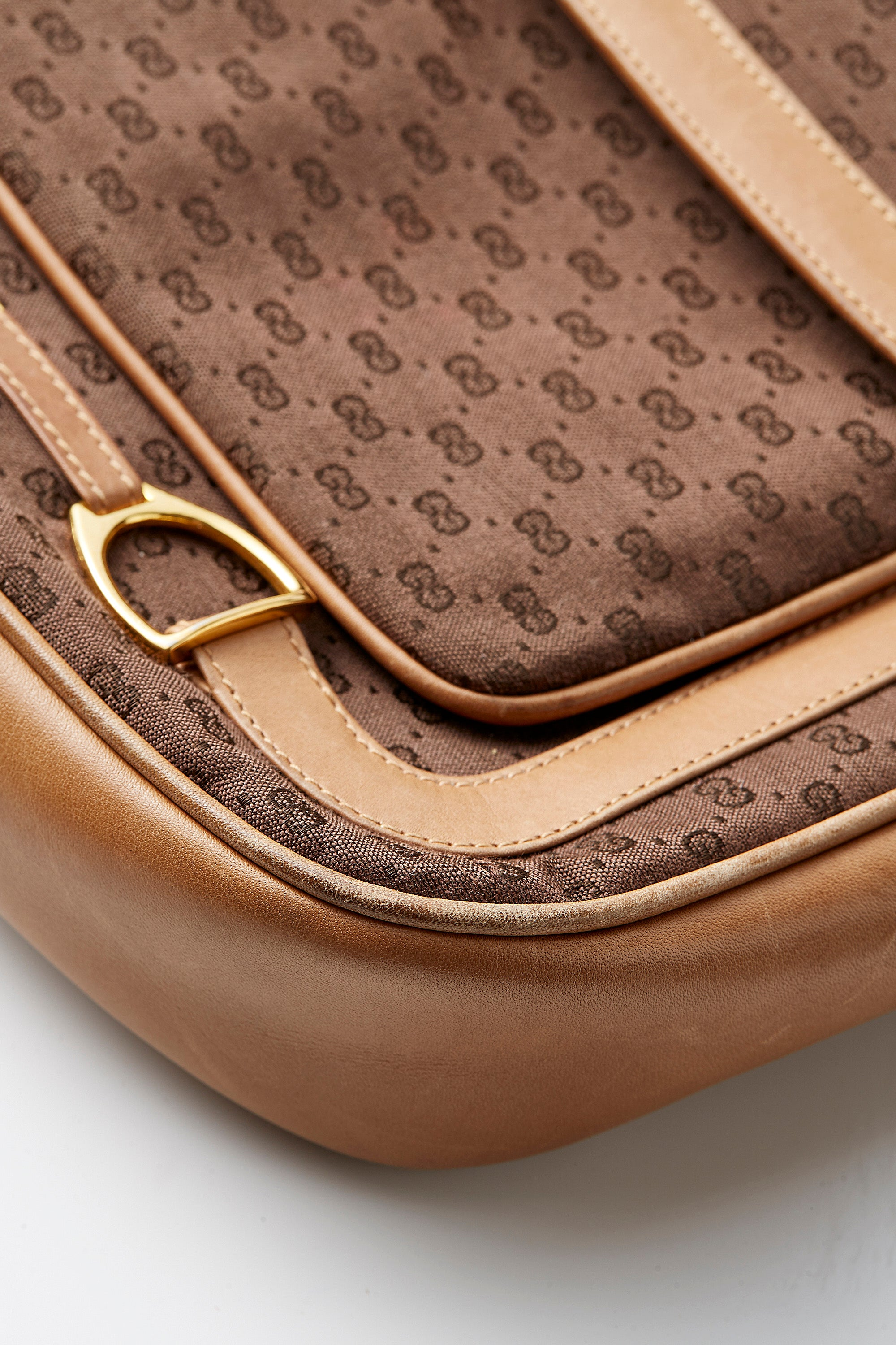 Gucci<br>1970's tan leather & brown monogram logo shoulder bag