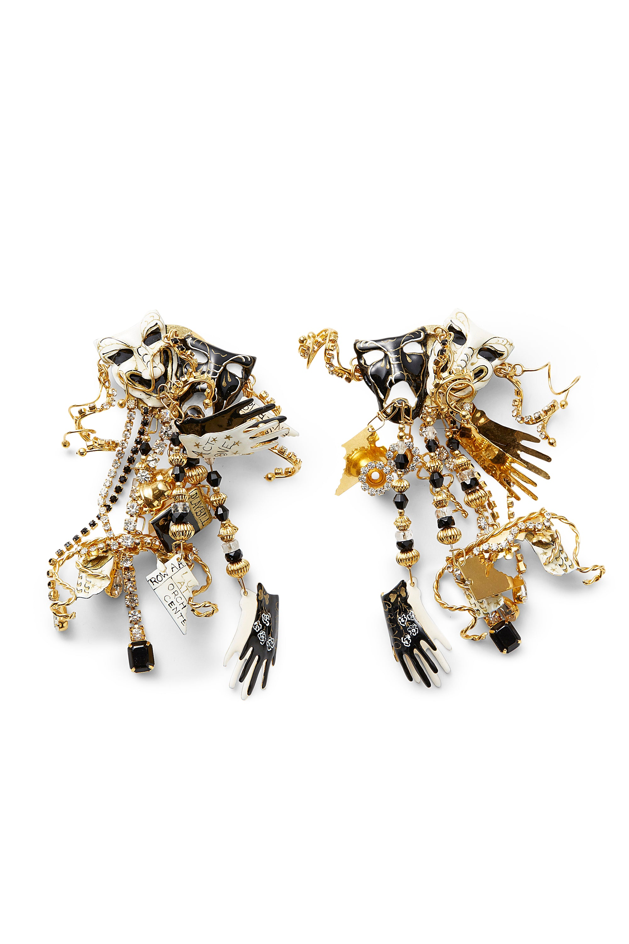 "Lunch At The Ritz<br>1980's gold, enamel & crystal ""Opening Night"" shoulder duster earrings"