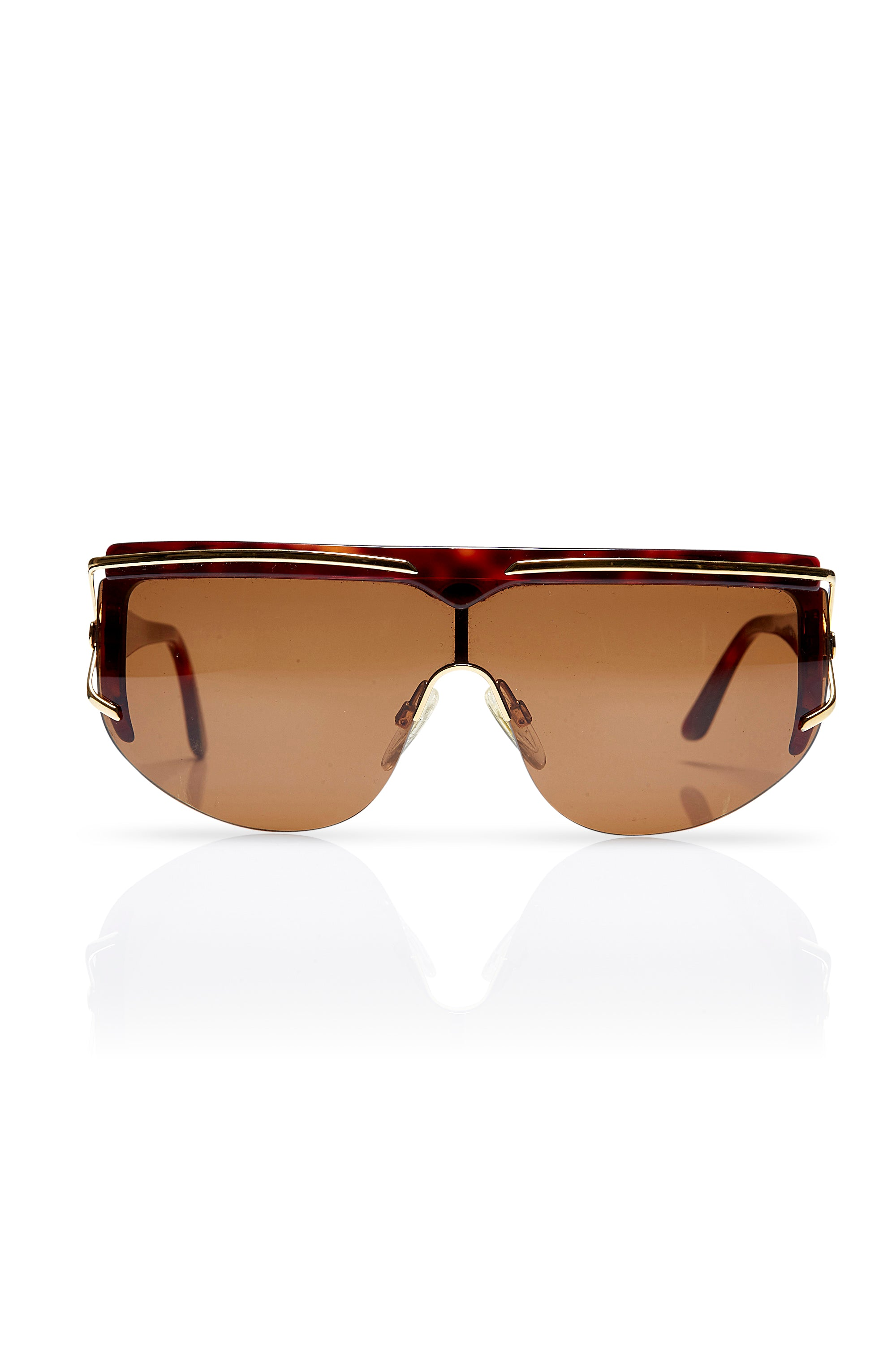 Valentino <br>1980's V568 brown & gold visor sunglasses