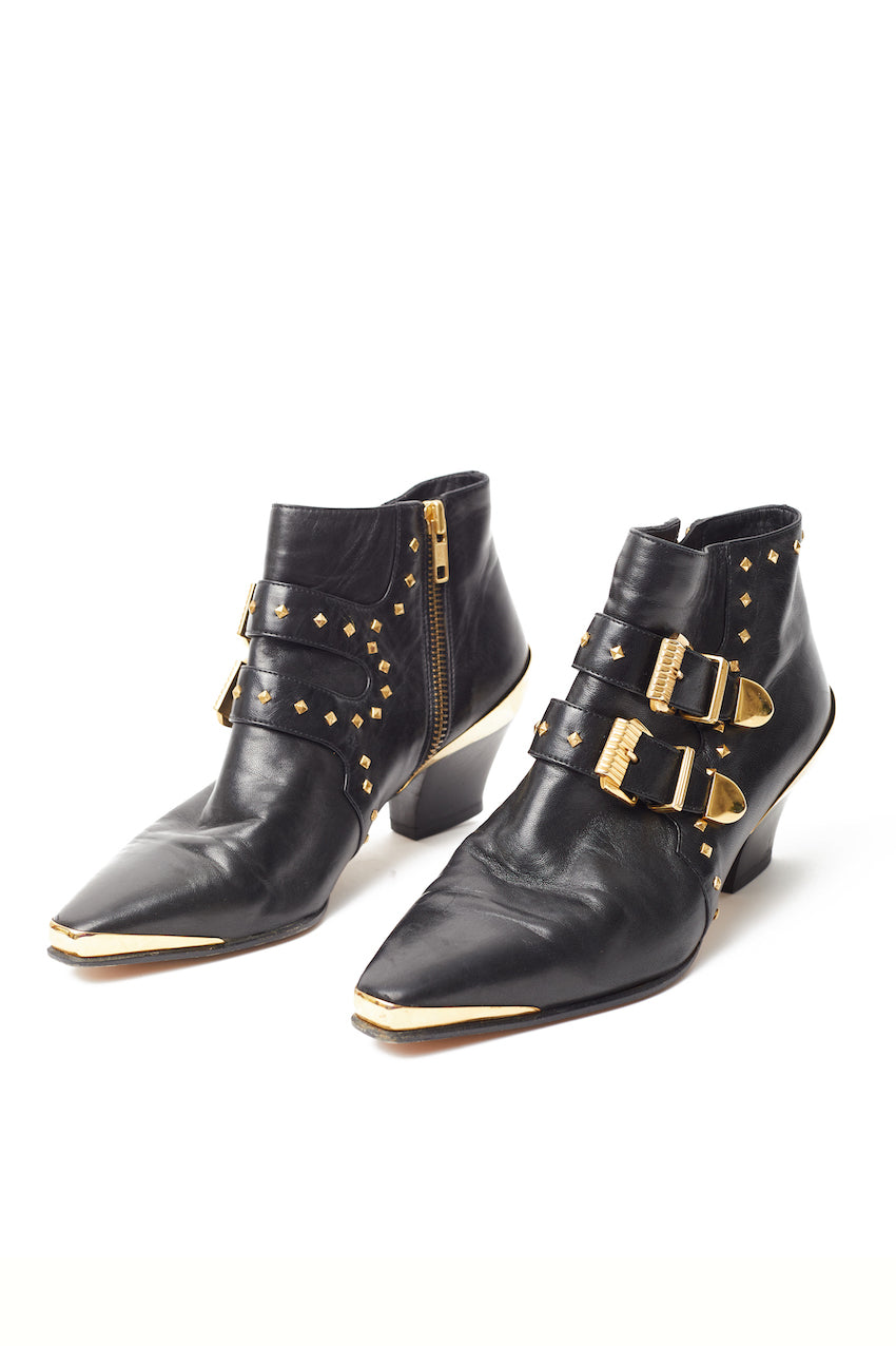 Gianni Versace <br> F/W 1992 'Miss S&M' runway studded leather ankle boots