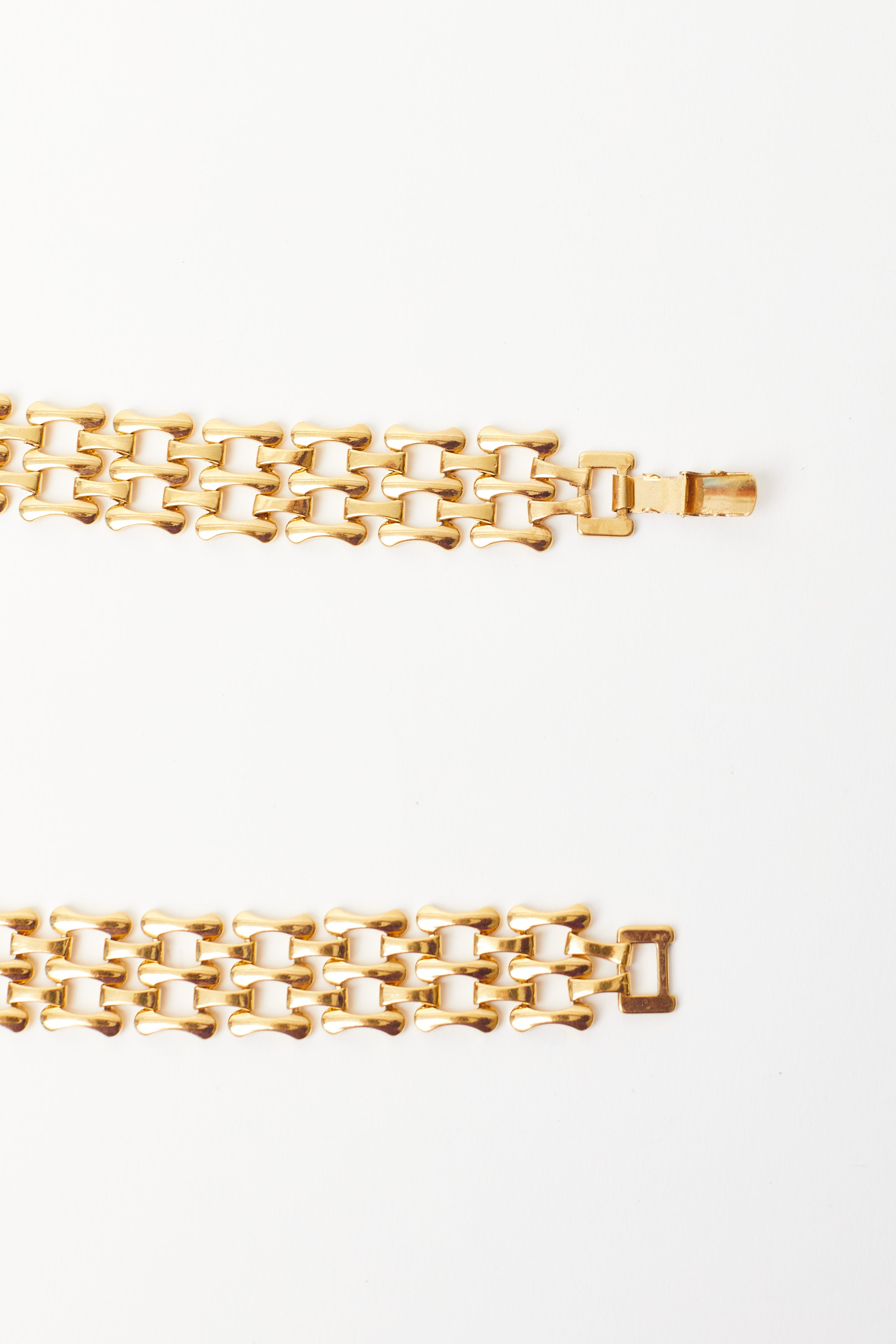 Vintage <br> 80's chevron gold panther link necklace