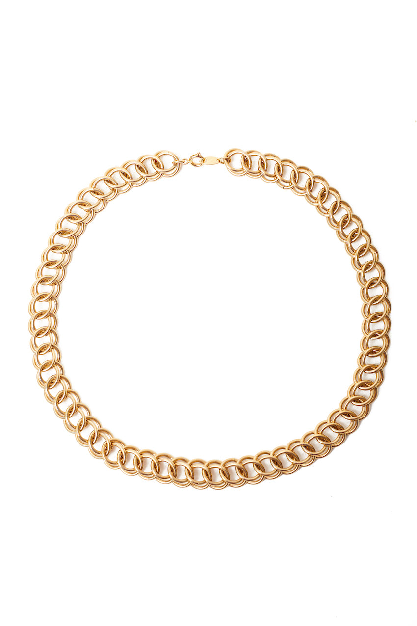 Trifari <br> 70's/80's gold plated round double link chain choker necklace