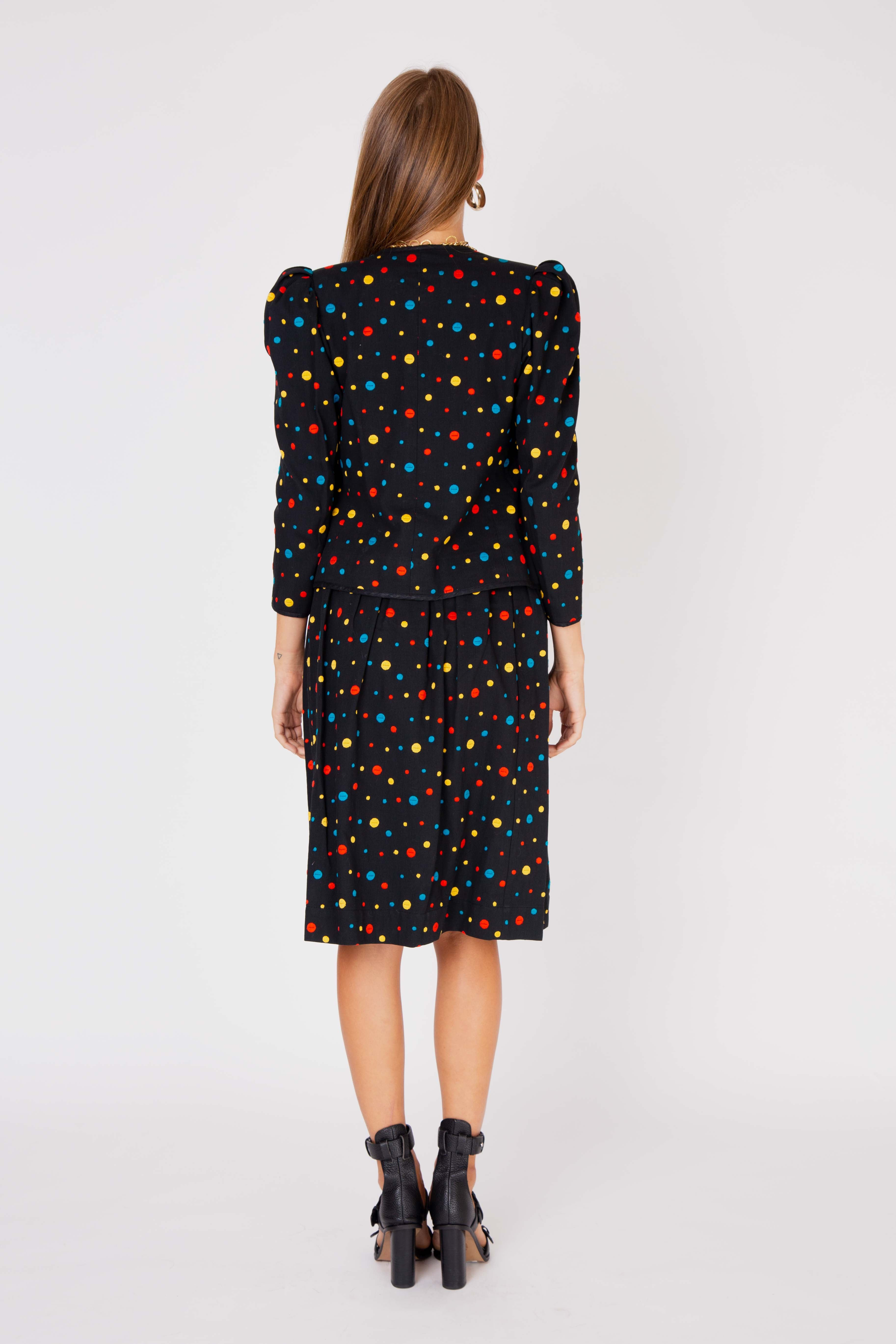 Yves Saint Laurent<br>1970's embroidered polka dot three piece ensemble
