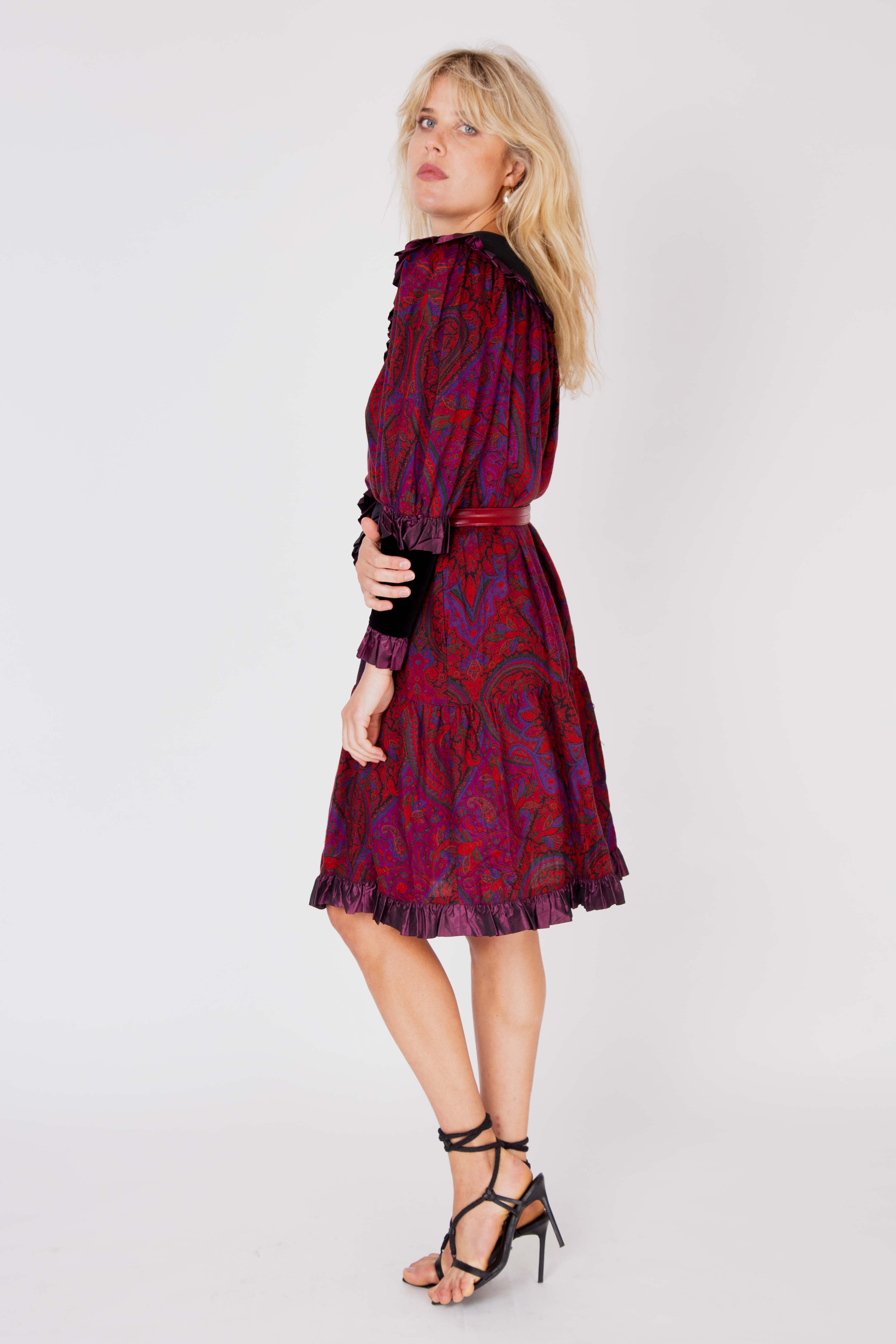 Yves Saint Laurent<br>1976/77 wool & velvet paisley print dress